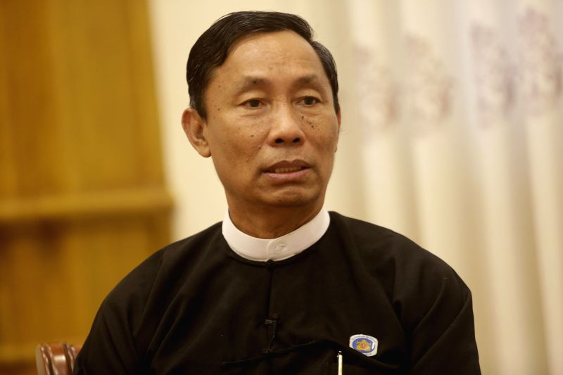 Speaker of Myanmar's Union Parliament and House of Representatives U Shwe Mann receives an exclusive interview with Xinhua News Agency in Nay Pyi Taw, Myanmar, ...