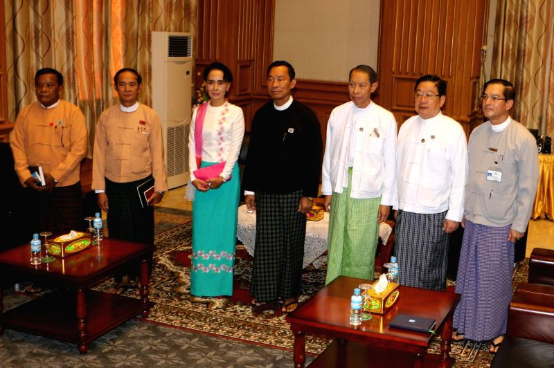 Speaker of Myanmar's Union Parliament and House of Representatives (Lower House) U Shwe Mann (4th R) and Chairperson of Myanmar's National League for Democracy ...