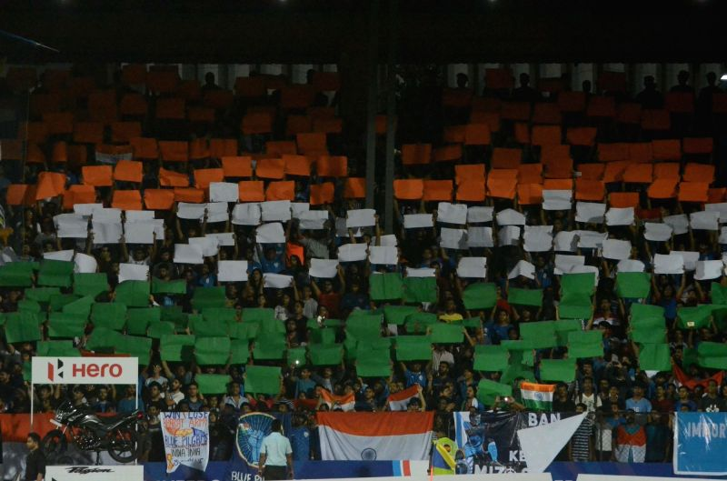 Spectators during an Intercontinental Cup match between India and Kenya at Andheri Sport Complex in Mumbai on June 10, 2018.