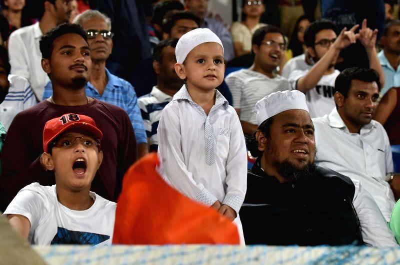 Spectators during an IPL 2017 match between Sunrisers Hyderabad and Kings XI Punjab at Rajiv Gandhi International Stadium in Hyderabad on April 17, 2017.