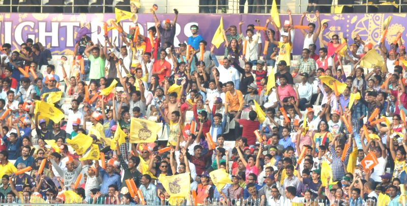 Spectators during an IPL 2017 match between Kolkata Knight Riders and Delhi Daredevils at Eden Gardens in Kolkata on April 28, 2017.