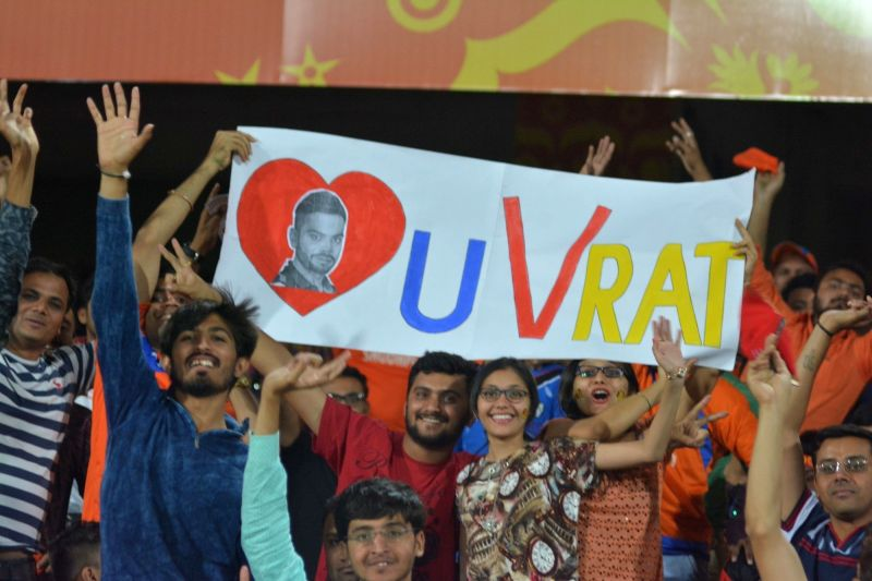 Spectators during an IPL 2017 match between Royal Challengers Bangalore and Gujarat Lions at Saurashtra Cricket Association Stadium in Rajkot on April 18, 2017.