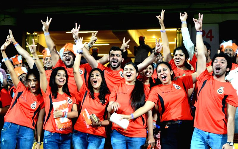 Spectators during an IPL 2017 match between Royal Challengers Bangalore and Kings XI Punjab at M Chinnaswamy Stadium in Bengaluru, on May 5, 2017.