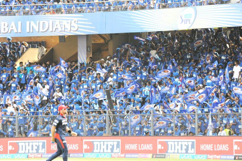 Spectators during an IPL 2018 match between Delhi Daredevils and Mumbai Indians at Wankhede Stadium in Mumbai on April 14, 2018.