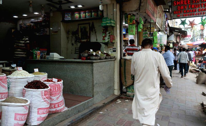 Spices on sale at a shop in Khari Baoli whole sale market near Chandni Chowk, in New Delhi. (File Photo: IANS)