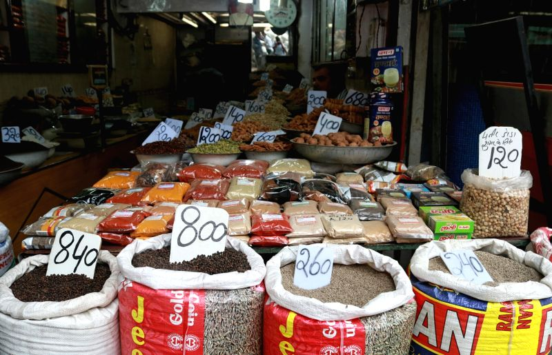 Spices on sale at a shop in Khari Baoli whole sale market near Chandni Chowk, in New Delhi. (File Photo: IANS)