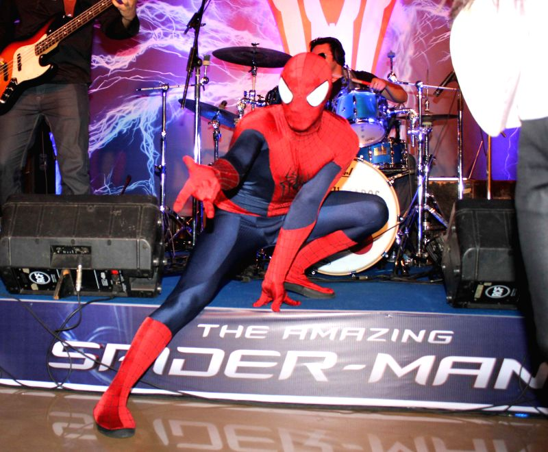 Spiderman during the screening of Hollywood film The Amazing Spider-Man 2 in Mumbai, on April 29, 2014.
