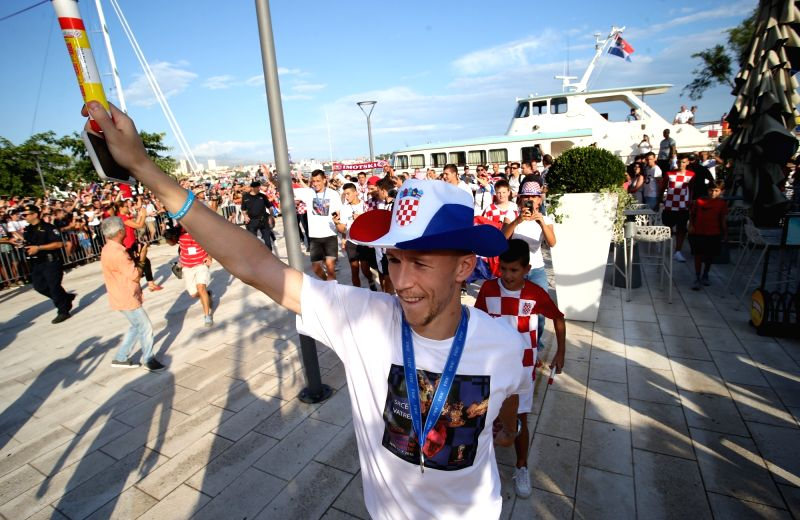 SPLIT, July 18, 2018 - Ivan Perisic of Croatian national football team reacts during welcome celebration in Split, Croatia, July 17, 2018. Croatia won the second place at the 2018 FIFA World Cup in ...