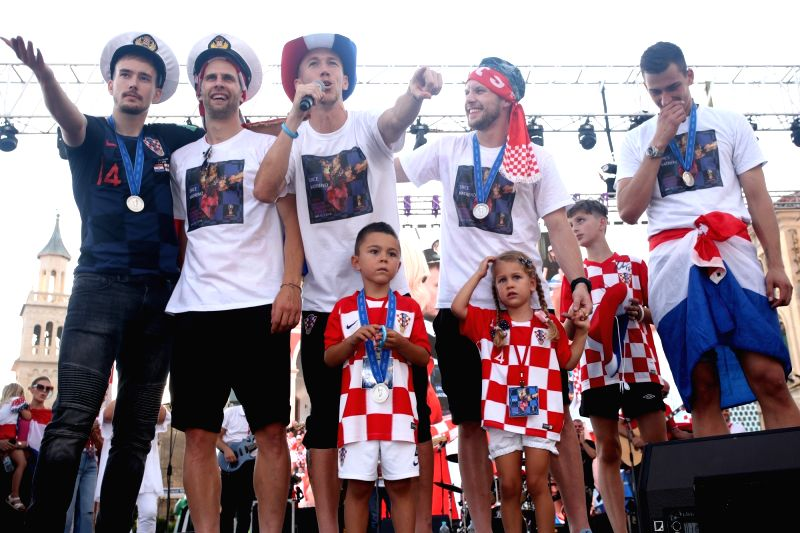 SPLIT, July 18, 2018 - Members of Croatian national football team react in welcome celebration in Split, Croatia, July 17, 2018. Croatia won the second place at the 2018 FIFA World Cup in Russia.