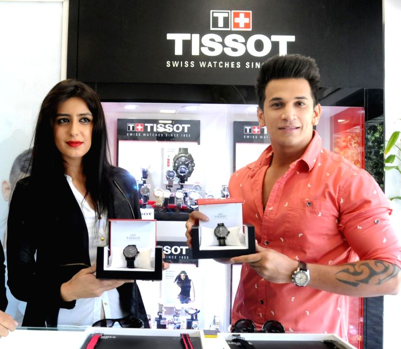 Splitsvilla winnner Anuki Tchokhonelidze and Bigg Boss 9 winner Prince Narula during the launch of product in Amritsar on May 26, 2016.