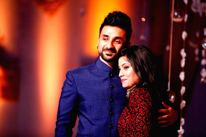 Sri Lanka: Actor Vir Das and his wife Shivani Mathur during a their marriage ceremony in Sri Lanka on Nov 19, 2014.