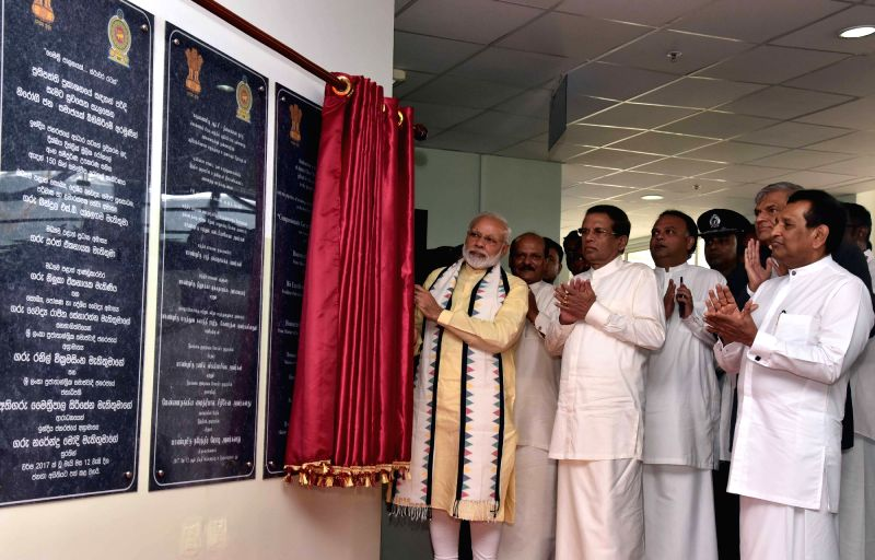 Sri Lanka: Prime Minister Narendra Modi inaugurates Dickoya Hospital in Central Province of Sri Lanka on May 12, 2017. Also seen Sri Lankan President Maithripala Sirisena and Prime Minister Ranil ... - Narendra Modi