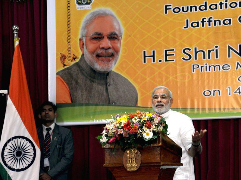 Sri Lanka: Prime Minister Narendra Modi addresses during the foundation stone laying programme of Jaffna Cultural Centre, in Sri Lanka on March 14, 2015. - Narendra Modi