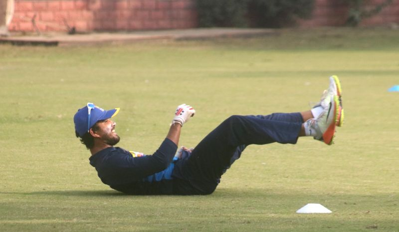 Sri Lankan captain Dinesh Chandimal during a practice session ahead of the third test match against India that is scheduled to be held from 3rd December; in New Delhi on Dec 1, 2017. - Dinesh Chandimal