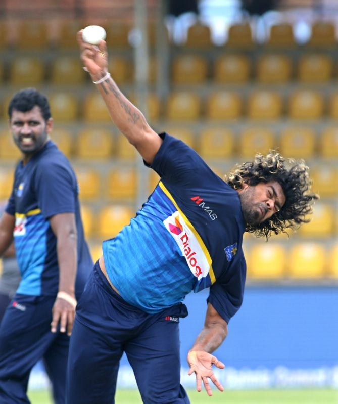 Sri Lankan pace bowler Lasith Malinga during a practice session ahead of the first one-day international cricket match against India in Dambulla, Sri Lanka on Aug 19, 2017.