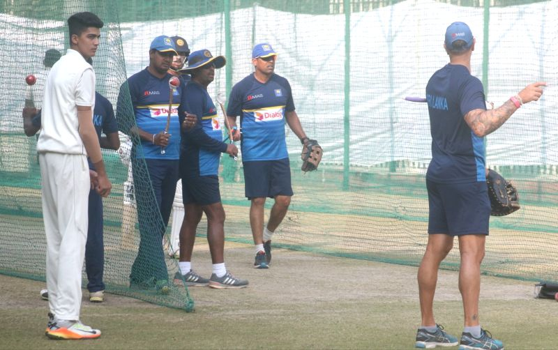 Sri Lankan players during a practice session ahead of the third test match against India that is scheduled to be held from 3rd December; in New Delhi on Dec 1, 2017.