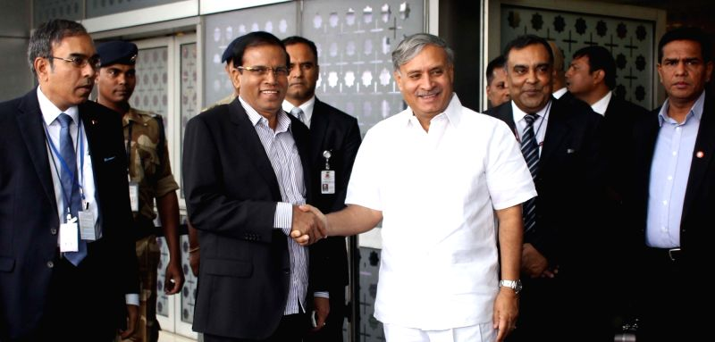 Sri Lankan President Maithripala Sirisena arrives at Indira Gandhi International Airport in New Delhi on May 13, 2016.