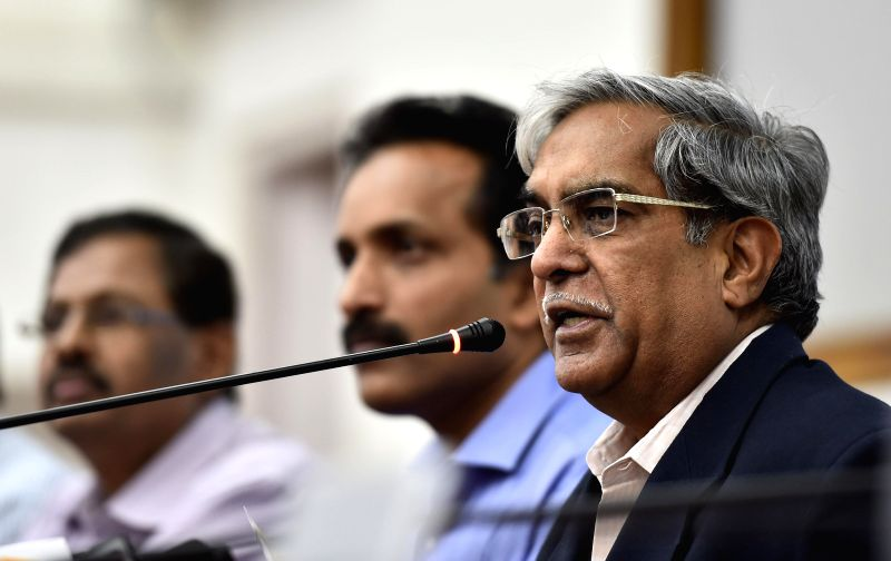 Indian scientist and the director of the Satish Dhawan Space Centre Sriharikota, M Y S Prasad during a press conference at the Satish Dhawan Space Center in Sriharikota of Andhra Pradesh