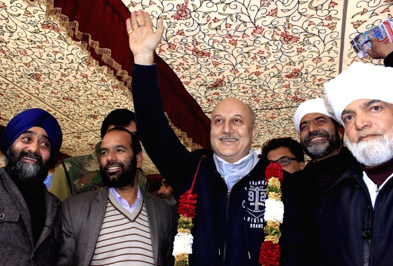 Actor Anupam Kher campaigns for Peoples Republican Party (PRP) ahead of Jammu and Kashmir assembly polls in Srinagar on Nov 24, 2014.
