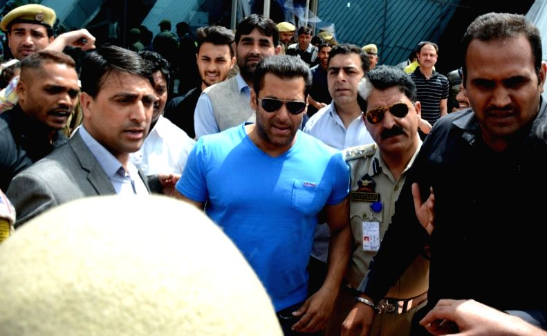 Actor Salman Khan during the shooting for his upcoming film `Bajrangi Bhaijaan` in Srinagar, on April 19, 2015.
