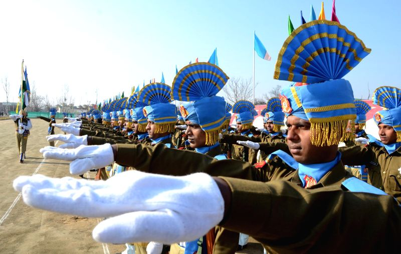 Central Reserve Police Force (CRPF) recruits during their passing out parade at Recruit Training Centre (RTC) Humhama, on the outskirts of Srinagar on Jan 16, 2015.