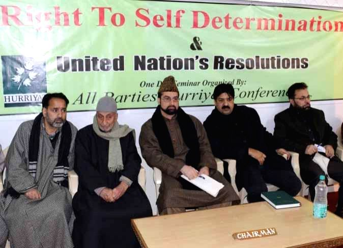 Chairman of Hurriyat Conference (M) Mirwaiz Umar Farooq and others during a seminar on `UN resolutions and Kashmir's right to self determination` in Srinagar, on Jan 5, 2015.