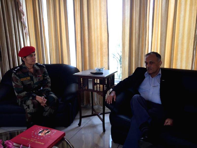 Srinagar: Colonel Commandant of Corps of Military Police Lt Gen Ashwani Kumar interviewing Lt Col Nandani for training instructor's position, in Srinagar. (Photo: IANS)