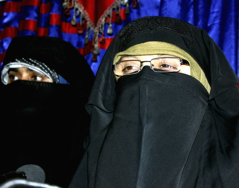 Dukhtaran-e-Millat chief Aasiya Andrabi, who was booked under the Unlawful Activities Prevention Act for allegedly hoisting a Pakistani flag, on March 25, 2015. (File Photo: IANS)