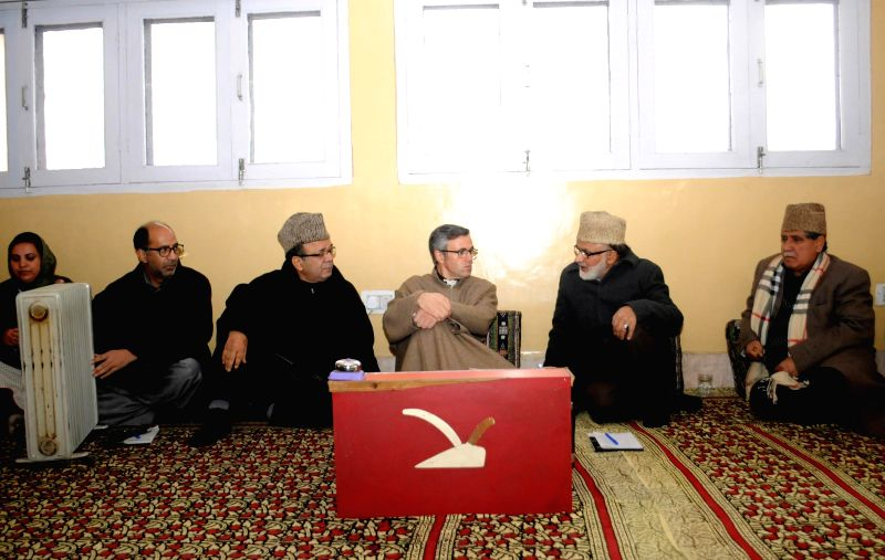 Former Jammu and Kashmir Chief Minister and National Conference Working President Omar Abdullah during a party meeting  in Srinagar, on Jan 13, 2015.