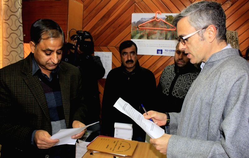 Jammu and Kashmir Chief Minister Omar Abdullah files nomination papers from Sonawar assembly seat for assembly poll in Srinagar on Nov 26, 2014.