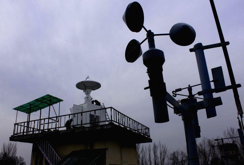 Japanese Doppler radar being installed at the Met complex  in Srinagar on Feb. 7, 2015.