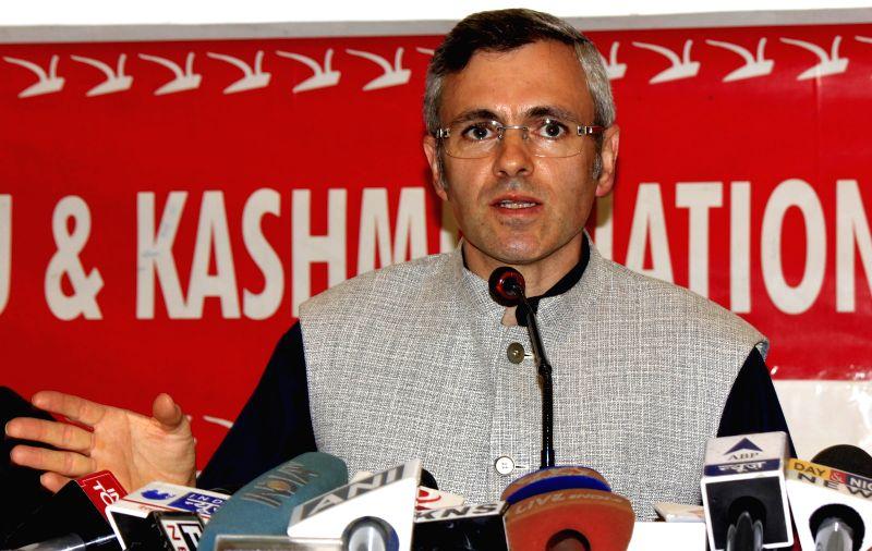 National Conference president Omar Abdullah addresses a press conference in Srinagar, on June 8, 2015.
