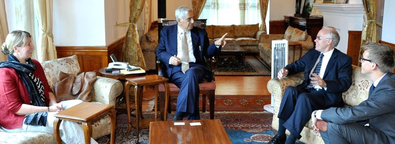 Norwegian Ambassador to India Eivind S. Homme calls on Jammu and Kashmir Chief Mnister Mufti Mohammad Sayeed in Srinagar, on May 13, 2015.