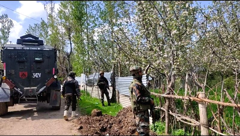 Srinagar: One terrorist has been killed in an ongoing encounter between terrorists and security forces in the Zeipora area of South Kashmir's Shopian district on Monday, 19th 2021.(Photo: Nissar Malik/IANS)