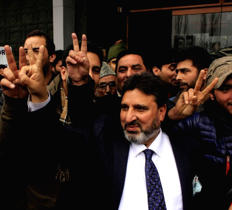 Peoples Democratic Party (PDP) leader Altaf Bukhari during a rally organised after he was declared victorious from Amira Kadal constituency in the recently held Jammu and Kashmir assembly ..