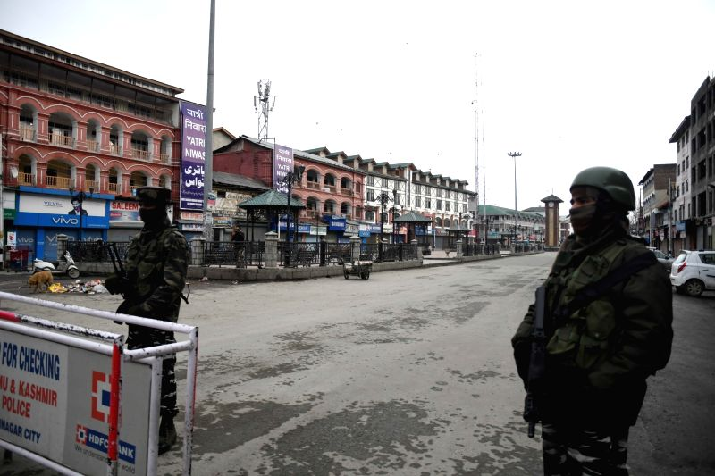 """Srinagar: Security beefed up during a shutdown called by separatist leaders, in Srinagar on Jan 26, 2019. Separatist leaders have called for a shutdown in the Valley on Saturday and appealed to people to observe Republic Day as a """"black day"""".(Photo:"""