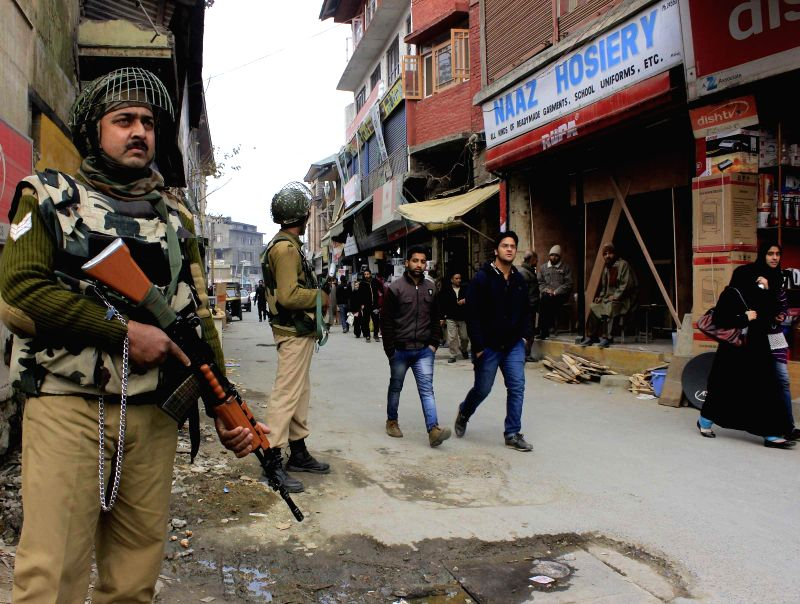 Security beefed-up in Srinagar following a grenade attack at Lal Chowk of the city on Dec 1, 2014.