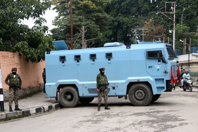 Srinagar: Security personnel deployed in Srinagar on Aug 16, 2019. Jammu and Kashmir Chief Secretary B.V.R. Subrahmanyam announced on Friday restrictions in Jammu and Kashmir placed after the axing of Article 370 will be lifted in a phased manner fro