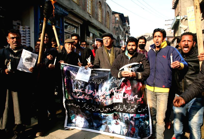The activists of Jammu and Kashmir Liberation Front (JKLF) during a demonstration organised on Human Rights Day in Srinagar, on Dec 10, 2014.