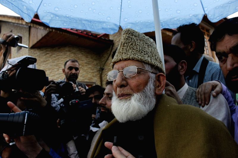 The Chairman of All Parties Hurriyat Conference Syed Ali Geelani returns back to Srinagar from New Delhi on April 15, 2015.