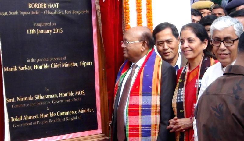 Srinagar (Tripura): The Union Minister of State for Commerce and Industry (Independent Charge) Nirmala Sitharaman at the inauguration of the `Border Haat` in Srinagar, Tripura on Jan 13, 2015. Also .. - Manik Sarkar