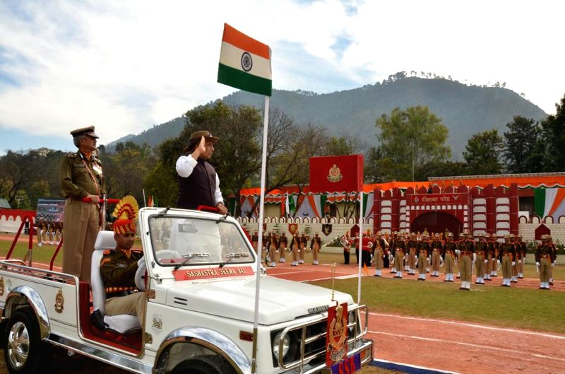 Union Home Minister Rajnath Singh inspects the Passing Out Parade of Assistant Commandants of SSB, in Srinagar, Uttarakhand on Feb 6, 2015.