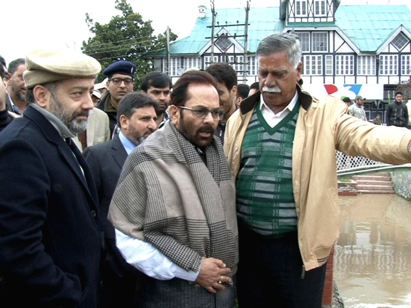 Union Minister of State for Parliamentary and Minority Affairs Mukhtar Abbas Naqvi takes stock of flood situation in Srinagar on March 30, 2015.