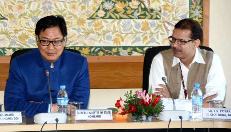 Union Minister of State for Home Affairs Kiren Rijiju during the 2nd Meeting of Committee of Eminent Freedom Fighters at Sher-e-Kashmir International Convention Centre (SKICC) in Srinagar ...