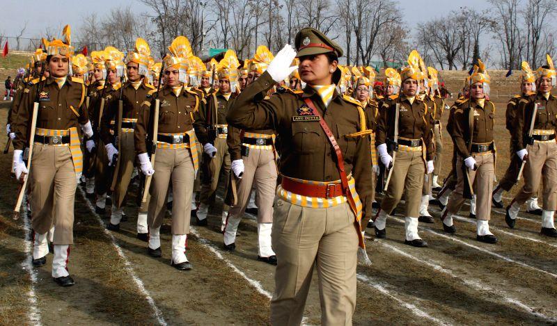Women para military personnel during the full dress rehearsal of Republic Day parade at Bakshi Stadium in Srinagar on Jan. 24, 2015.