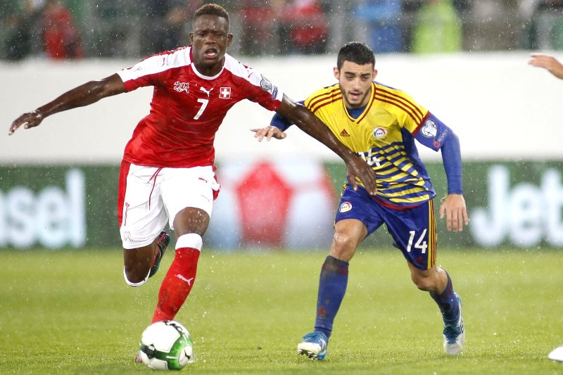 ST.Denis Zakaria (L) of Switzerland vies with Jordi Alaez of Andorra during the FIFA World Cup 2018 Qualifiers Group B match between Switzerland and Andorra in St. ...