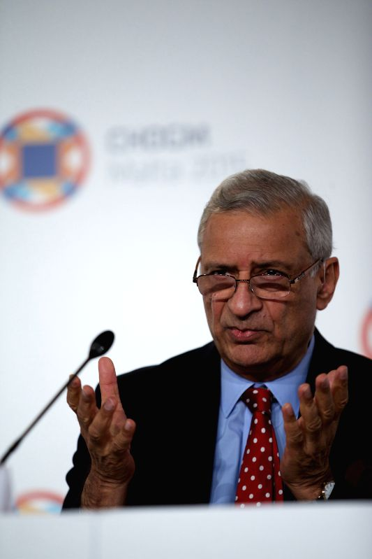 ST. JULIAN'Secretary General of the Commonwealth Kamalesh Sharma delivers a speech during a press conference of Climate Finance Access Hub at the Commonwealth Heads of ... - Kamalesh Sharma