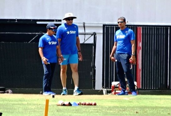 St Lucia: Indian cricket team head coach Anil Kumble during a practice session at Darren Sammy Stadium in St Lucia on Aug 7, 2016.