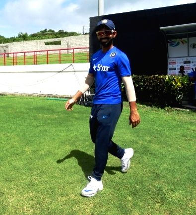 St Lucia: Indian cricketer Ajinkya Rahane during a practice session at Darren Sammy Stadium in St Lucia on Aug 7, 2016.