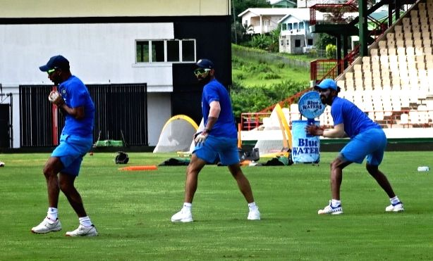 St Lucia: Indian cricketers during a practice session at Darren Sammy Stadium in St Lucia on Aug 7, 2016.